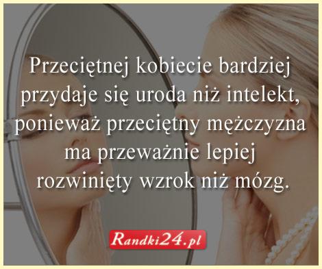 Treść myśli, a w tle kobieta przeglądająca się w lustrze